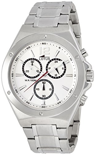 Lotus Men's Quartz Watch with White Dial Chronograph Display and Silver Stainless Steel Bracelet 10118/1 from Lotus
