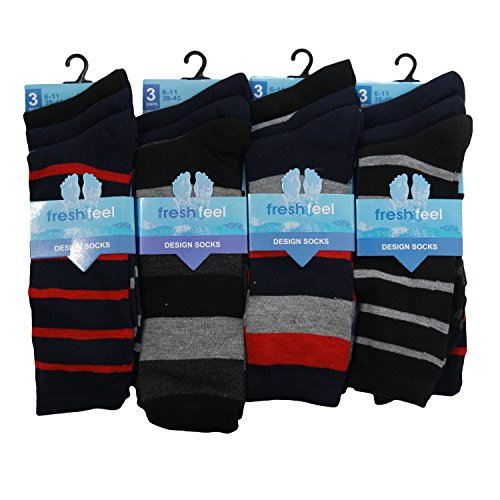 12 Pairs Mens Designer Socks Cotton Rich Lycra Design Socks Size 6-11 Fathers Day Christmas Gift Valentines Day Gift Socks Dark Stripe Design from Louise23