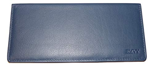 EMVY Leather Genuine Leather Cheque Book Cover Holder in Colours Black or Purple! (Navy) from Love EMVY