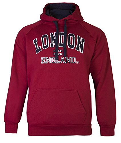 "Men's London Hoodies Sweatshirts Unisex England Union Jack Tops Hoodys Super Quality (XL 46"", Burgundy) from Love Lola"