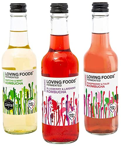 Loving Foods *Organic* Kombucha Mixed Case (330ml) Raw, Unpasteurised & Bursting with Beneficial Live Bacteria (12 x Bottles) from Loving Foods