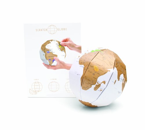 3D Globe Scratch Map - Personalized Globe World Travel Map - Scratch Off Map - Fun & Colourful Scratch Poster Sphere - Great for Classrooms - Perfect Travel Gift - White & Gold from Luckies of London