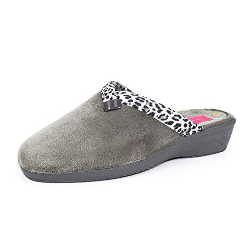 Lunar Womens Michelle Ocelot Slipper Grey 7 UK from Lunar