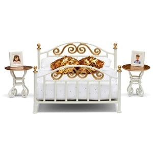 Lundby Dolls House Gold and White Bed 3 - 10 years from Lundby