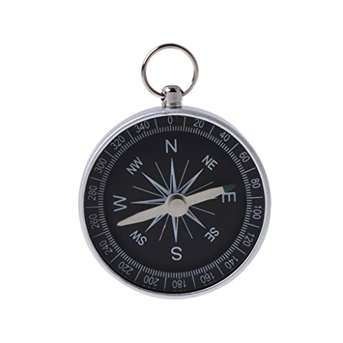 Lunji Button Compass, 44mm Mini Pocket Survival Compass Keyring for Outdoor Camping Travel Hiking from Lunji