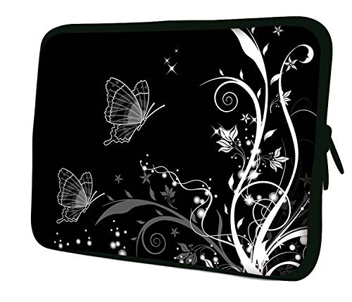 "LUXBURG 10"" Inch Design Laptop Notebook Sleeve Soft Case Bag - Butterflies Artwork (B&W) from Luxburg"