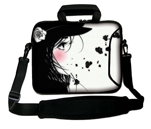 "LUXBURG 13"" Inch Design Laptop Notebook Sleeve Soft Case Bag With Handle and Shoulder Strap - Manga Girl from LUXBURG"