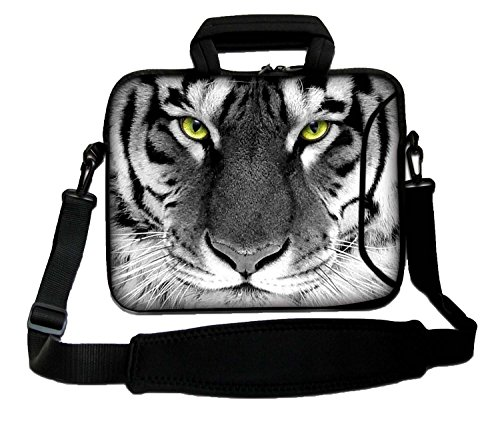 "LUXBURG 14"" Inch Design Laptop Notebook Sleeve Soft Case Bag With Handle and Shoulder Strap - White Tiger from LUXBURG"
