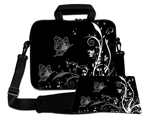 Luxburg Luxury Design Soft Sleeve Case Bag with Handle and Shoulder Strap for 12-Inch Laptop/Notebook + Free Mousepad - Butterflies Artwork (B and W) from LUXBURG