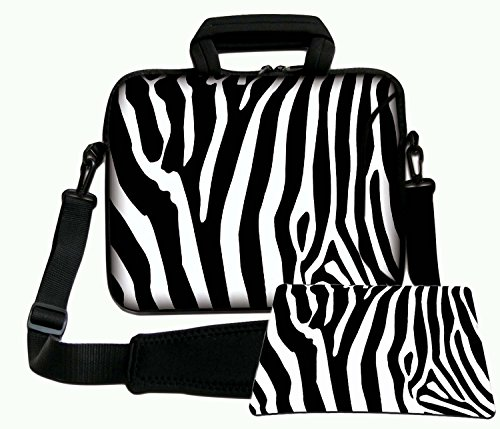 Luxburg Luxury Design Soft Sleeve Case Bag with Handle and Shoulder Strap for 12-Inch Laptop/Notebook + Free Mousepad - Zebra Stripes from LUXBURG