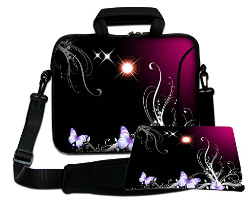 Luxburg Luxury Design Soft Sleeve Case Bag with Handle and Shoulder Strap for 15-Inch Laptop/Notebook + Free Mousepad - Sun Butterflies and Magic Plant from Luxburg®