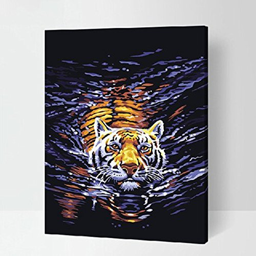 MADE4U Paint By Numbers Kits Canvas Mounted on Wood Frame with Brushes and Paints for Adults Children Seniors Junior DIY Beginner Level Acrylics Painting Kits on Canvas (Tiger G158) from MADE4U