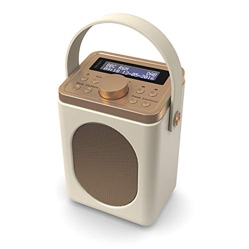 Little Shelford DAB/DAB+ Digital & FM Radio, Portable Wireless, Bluetooth, with Stereo Sound, Dual Alarm Clock/Leather Effect Finish/Mains Powered (Cream) from MAJORITY