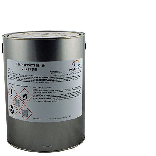 HB420G High Build Zinc Phosphate Quick Dry Metal Grey Primer 5 Litre, Ideal for Heavy Vehicles Finishing. High build properties, Fast drying, Brush or Spray application from MANOR