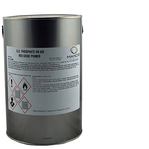 MANOR Q.D. Phosphate High Build Zinc HB420 Metal Red Oxide Primer 5Litre HB420RO, Ideal for Heavy Vehicles Finishing. High build properties, Fast drying, Brush or Spray application from MANOR