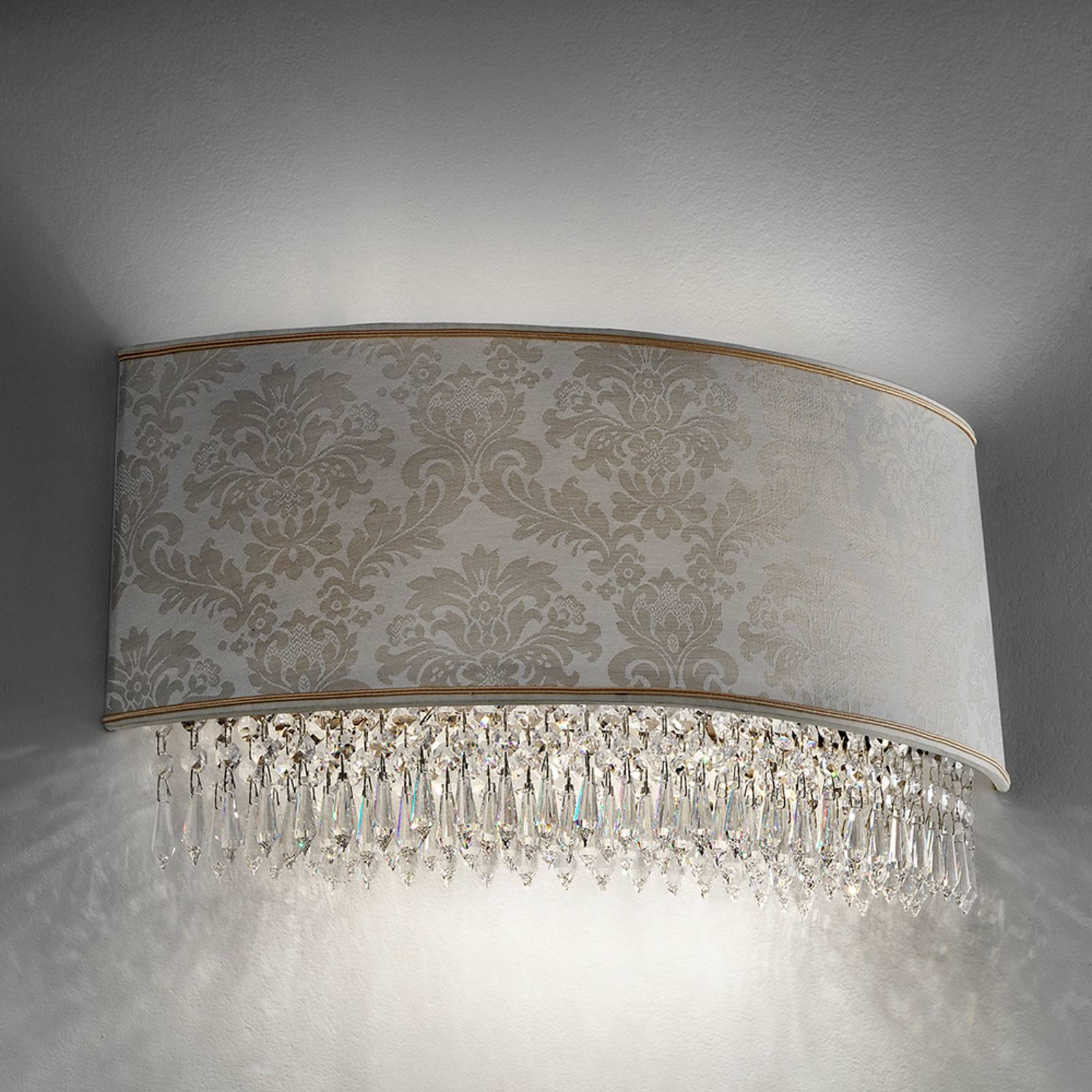50 cm wide wall lamp Glassé with damask lampshade from Masiero