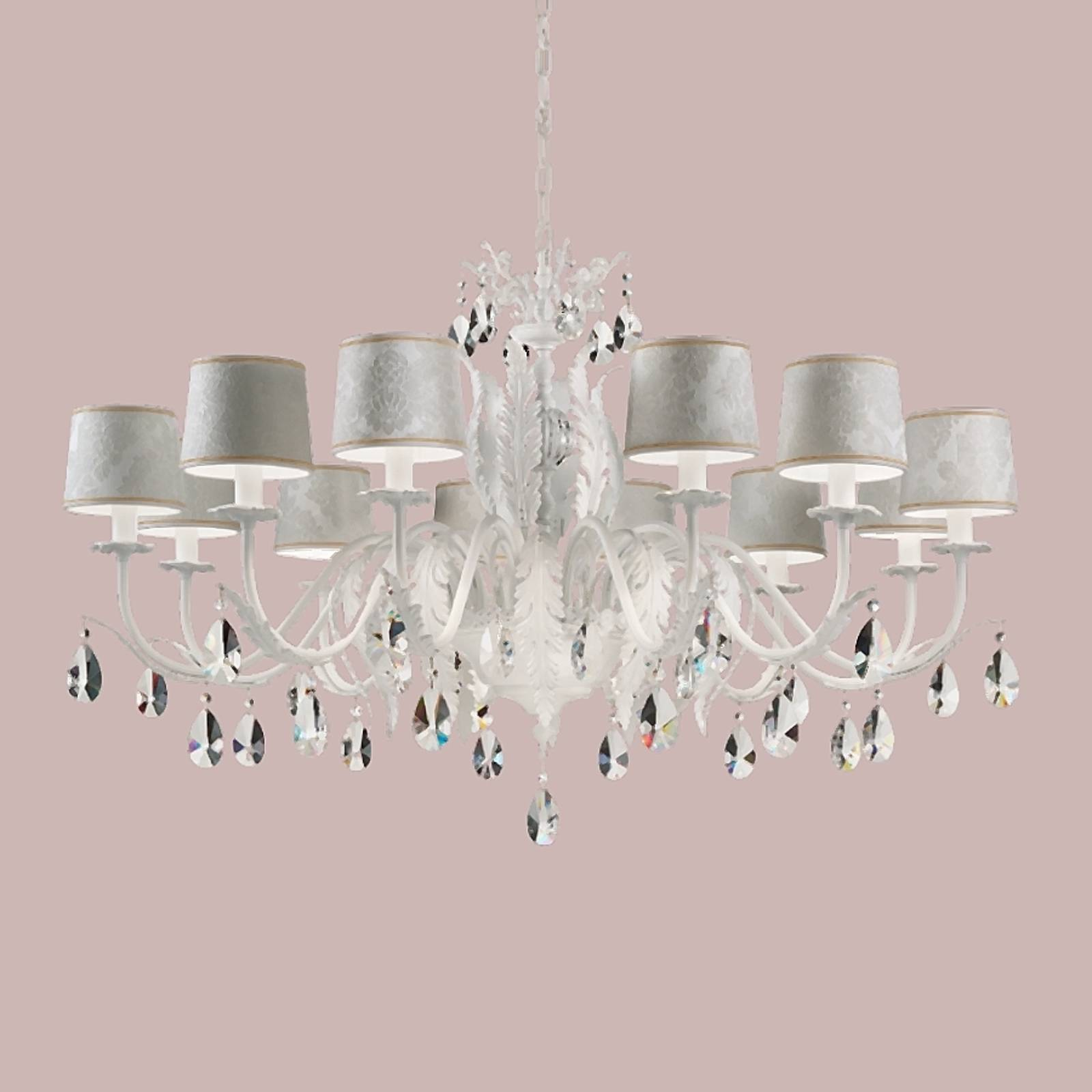 Angelis 12-bulb crystal chandelier, white from Masiero