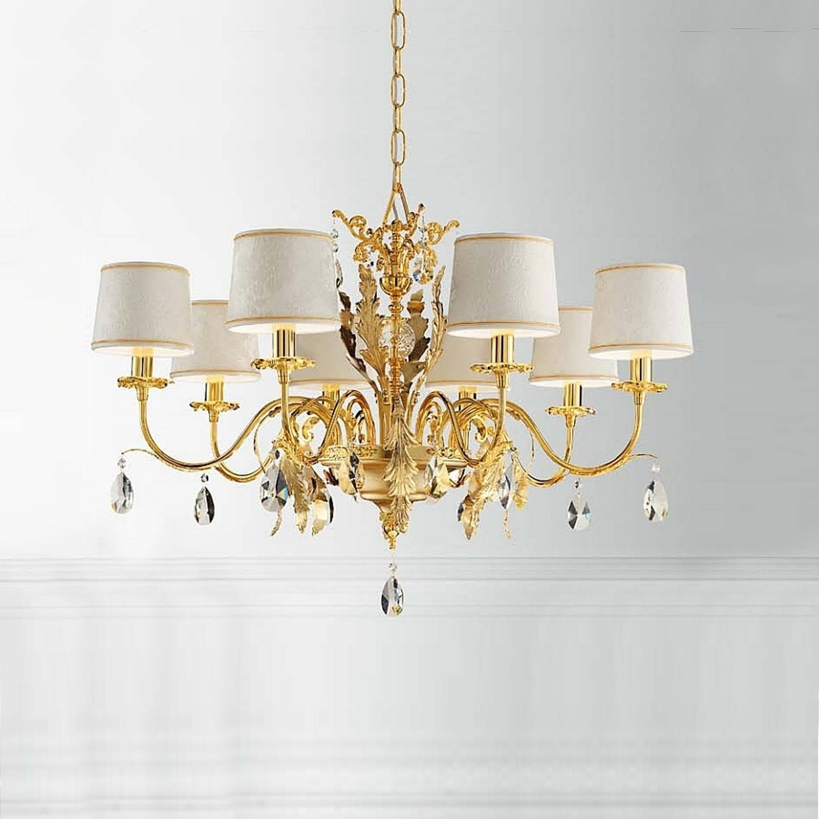 Angelis chandelier with damask shades, 8-bulb gold from Masiero