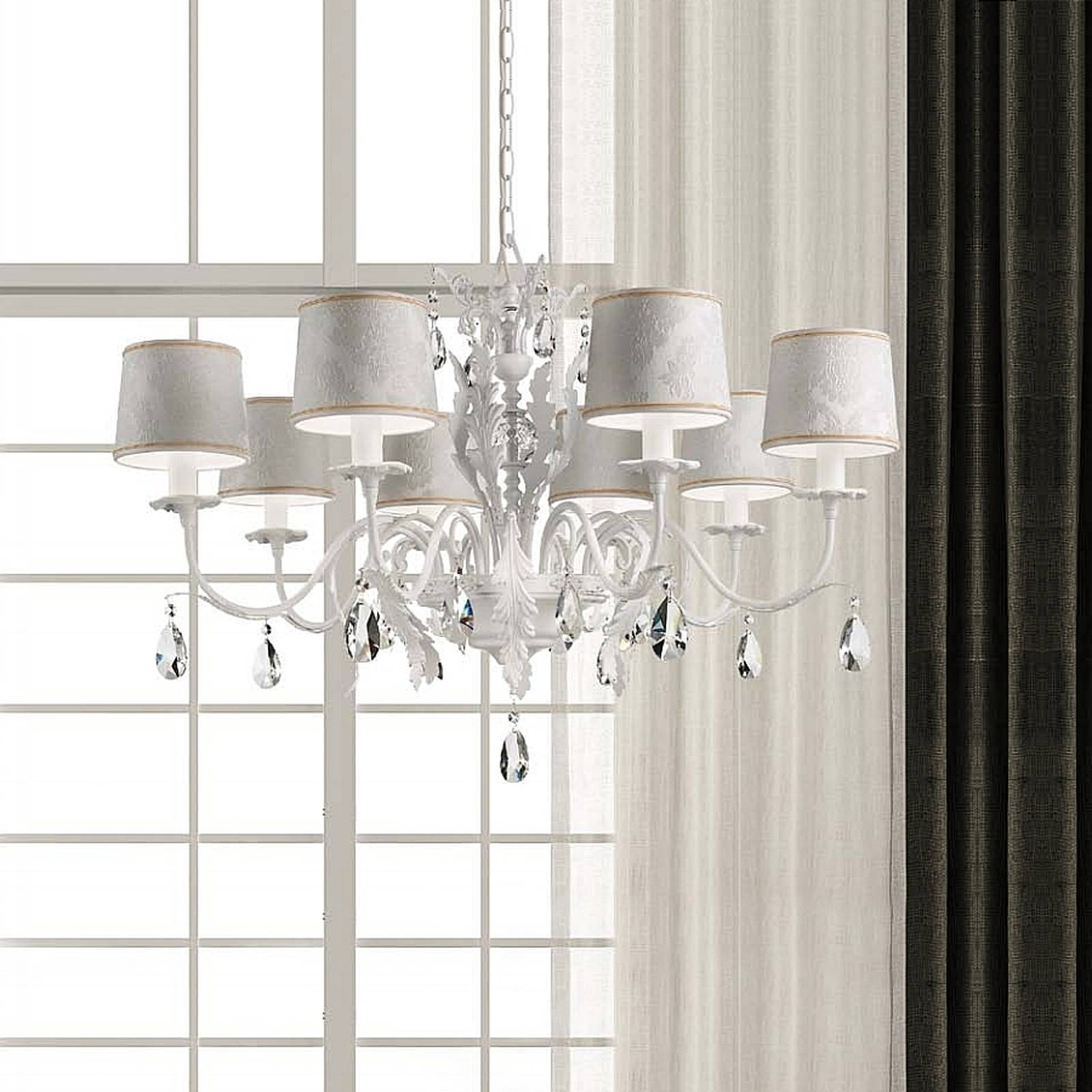 Angelis chandelier with damask shades 8-bulb white from Masiero