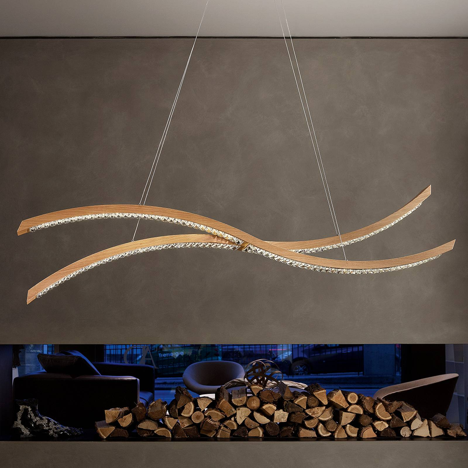 Curved LED hanging light Live S160 from Masiero