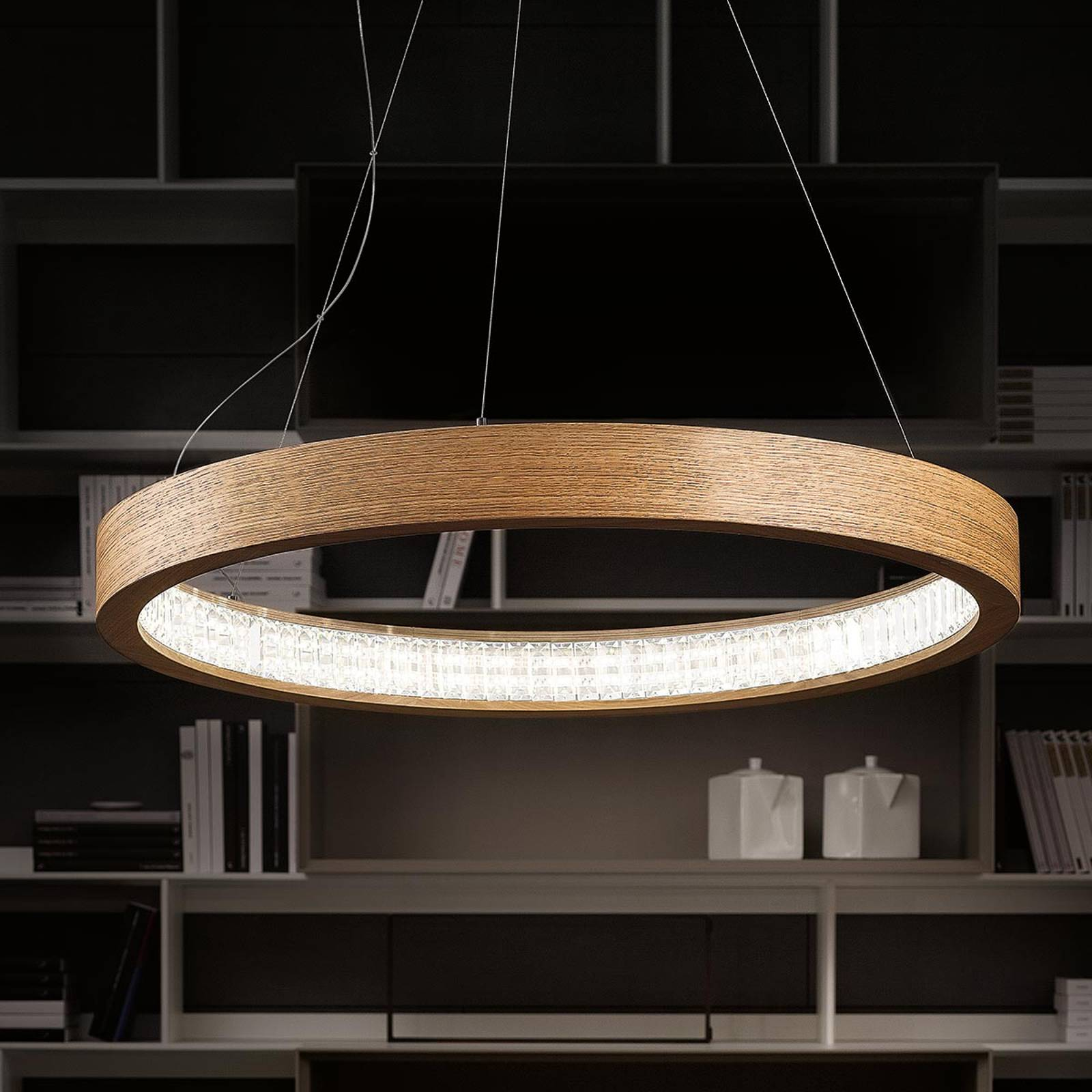 Natural LED hanging light Libe Round, 90 cm from Masiero