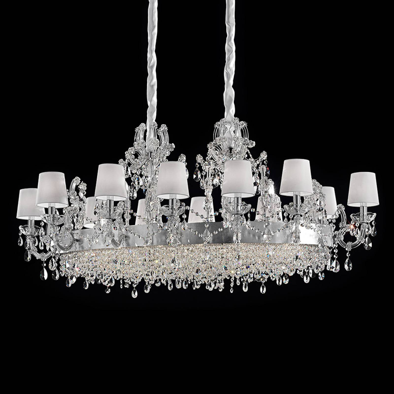 Philina richly-decorated chandelier, twelve-bulb from Masiero