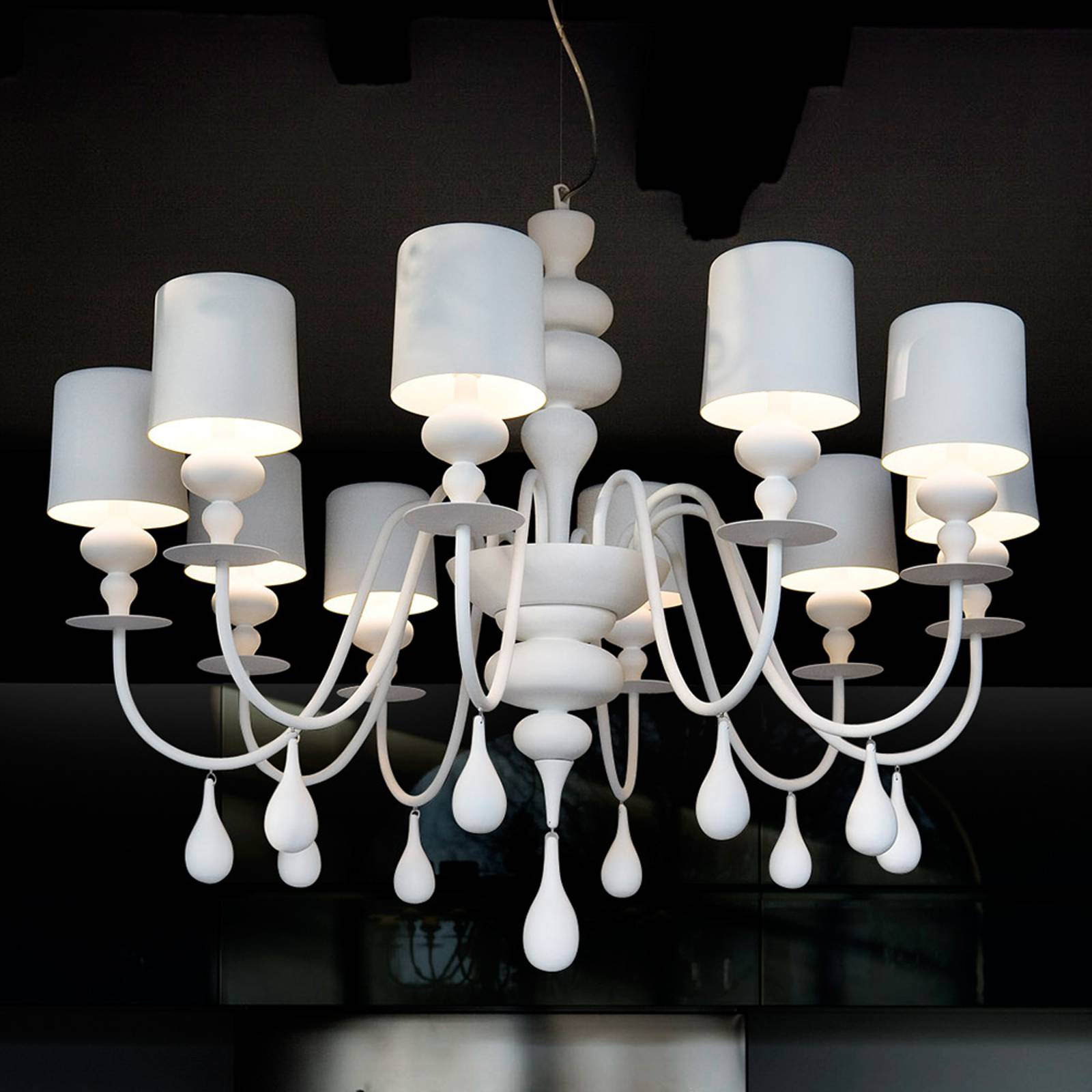 Prestigious chandelier Eva S10, white from Masiero