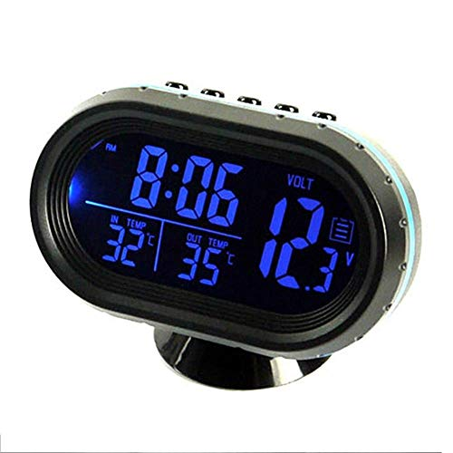 Car Thermometer LCD Clock - MASO 12-24V Multifunctional LCD Temperature Voltmeter Gauge Electronic Clock Alarm Monitor from MASO