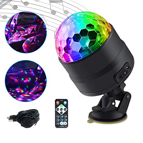 Car Interior Atmosphere DJ light, Maso Disco Ball Strobe Lighting Sound Active Function with Cigarette lighter Wireless Remote Control for Camping Party from MASO