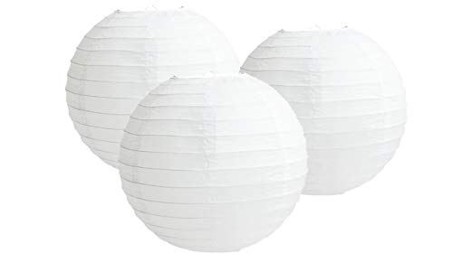 "Pack of 3 Paper Lantern Lampshade Party Birthday Baby Shower Wedding Celebration Decoration (White, 10"" (25cm)) from MATISSA"