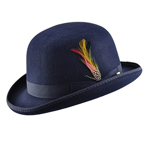 High Quality Hard Top 100% Wool Bowler Hat WITH Feather - Satin Lined -  Sizes 1703e2cbaf8c