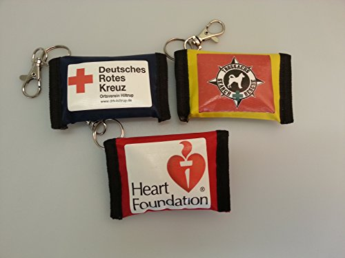 50 PERSONALISED KEY RING POUCHES WITH CPR FACE SHIELD from MEDI-POUCH