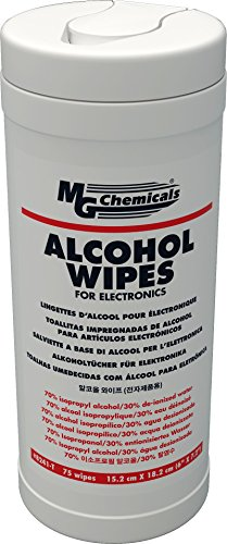 "MG Chemicals Alcohol Wipes (70% IPA), 7"" x 6"" (Tub of 75) from MG Chemicals"