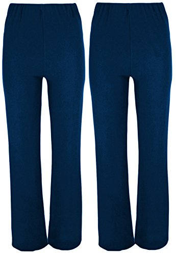 Ladies Ribbed STRETCH Bootleg Trousers 2 PAIRS PACK In NAVY Size 8-26