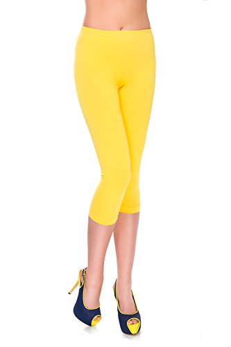 MITAAMI Cropped Leggings for Women 3/4 Length Trousers Size 18 Yellow from MITAAMI