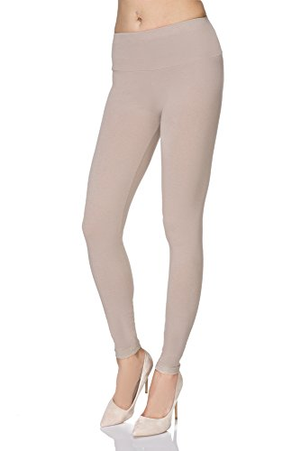 MITAAMI High Waisted Leggings for Women with Control Waistband Plus Sizes Beige 16 from MITAAMI