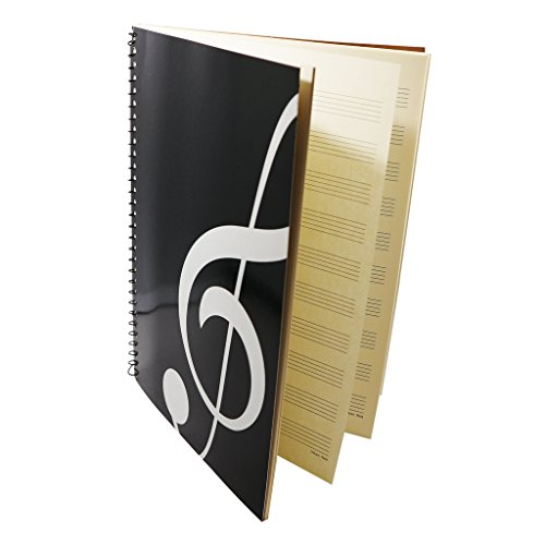 MOREYES Blank Sheet Music Composition Manuscript Staff Notebook with 50 Pages 26x19cm (black) from MOREYES