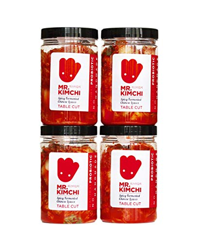 4 X 330g Freshly UK- made Kimchi based on Authentic Korean Recipe (Natural Fermentation, Natural Probiotics, No Artificial Additives) from MR.KIMCHI