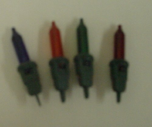 4 Multi Coloured Push In Spare Bulbs 2.5v 0.14a with one prong (SB7) from MRS CHRISTMAS