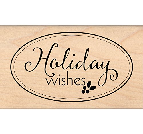 MSE Wood My Sentiments Exactly Mounted Stamp 2.5-Inch x 4.25-Inch-Holiday Wishes Large Oval from MSE