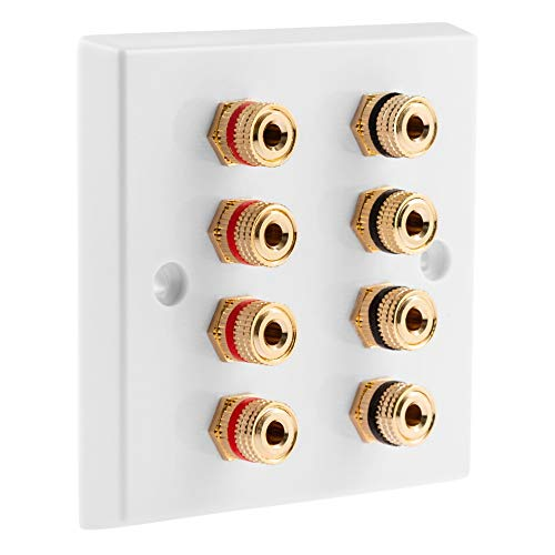 4.0 1 Gang Surround Sound Speaker Wall Plate with Gold Binding Posts NO SOLDERING REQUIRED from MSG Custom Audio