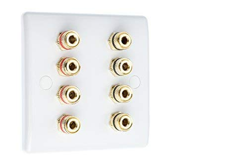 4.0 Slimline 1 Gang Surround Sound Speaker Wall Plate with Gold Binding Posts NO SOLDERING REQUIRED from MSG Custom Audio