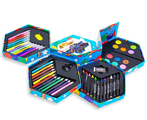 Kandy Childrens 52 Pcs Craft Art Artists Set Hexagonal Box Crayons Paints Pens Pencils from Kandy