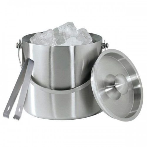 Large Double Walled Stainless Steel Insulated Ice Bucket With Tongs Lid 1.5 Ltr from MTS