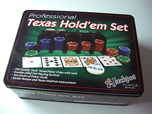 Texas Hold'em Poker Game Set Gaming Mat 200 Chips 2 Decks Playing Cards Tin Box from MTS