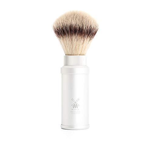 MÜHLE - TRAVEL shaving brush Silvertip Fibre ® - TRAVEL Series - Grip Anodized Aluminium / silver from Mühle