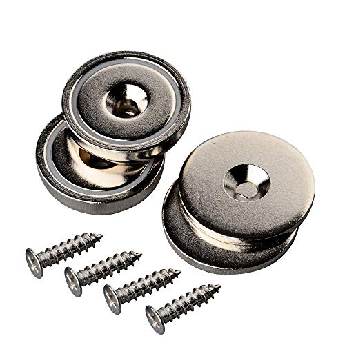 Mutuactor 2 Sets Heavy Duty 42KG Neodymium Round magnet Rare Earth Cup Magnet Countersunk Mounting Great for Door Latch or Wall Mount Tool holder from MUTUACTOR