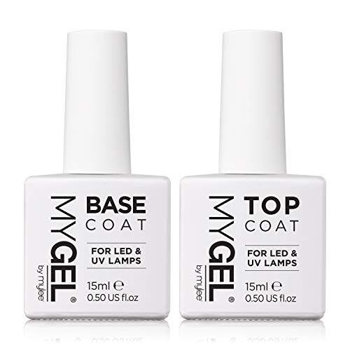 MYGEL by Mylee Nail Gel Polish Top & Base Coat 2x10ml UV/LED Soak-Off Nail Art Manicure Pedicure for Salon & Home Use - Lasts up to 2 Weeks, Easy to Apply, No Chips, Durable & Safe from MYLEE