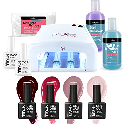Nail Gel Polish Kit 4 MYGEL Colours Top Base Coat UV Lamp Starter Kit Mylee prep + wipe remover from MYLEE
