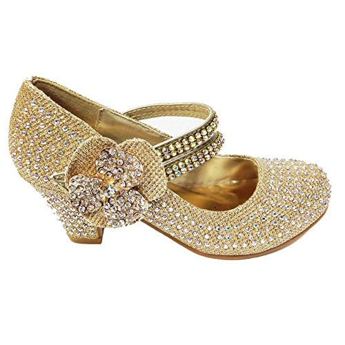 MyShoeStore Girls Wedding Shoes Kids Children Bridesmaid Prom Diamante Strappy Mary Jane Style Court Shoe Block Low Mid Heel Touch Fastening Party Formal Evening Dress Sandals Size 9-3(Gold Folwer,Kids UK 2) from MyShoeStore